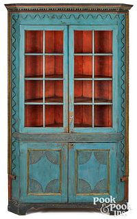 Southern painted hard pine corner cupboard