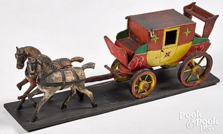 Folk art painted wood horse and carriage team