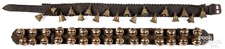 Two strands of antique brass sleigh bells