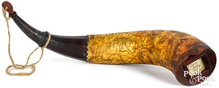 Contemporary scrimshaw decorated powder horn