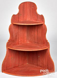 Painted pine hanging corner cupboard, 19th c.