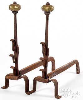 Pair of Continental wrought iron andirons, 17th c.