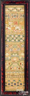Vibrant English silk on linen band sampler