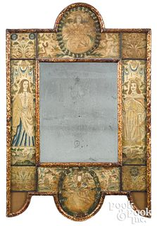 Charles II embroidered mirror, late 17th c.