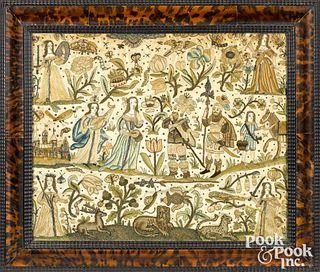 Charles II silk and metallic thread embroidery