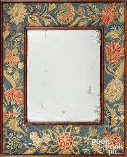George II walnut veneer mirror, mid 18th c.