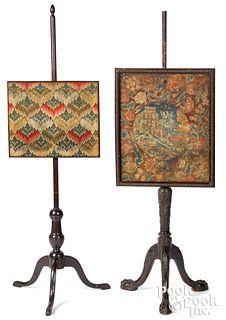 Two Georgian pole screens, 18th c.