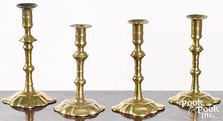 Four Queen Anne petal base candlesticks