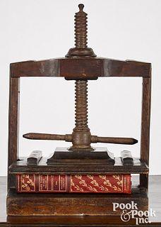English oak book press, ca. 1800