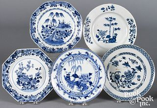 Five Chinese export blue and white plates