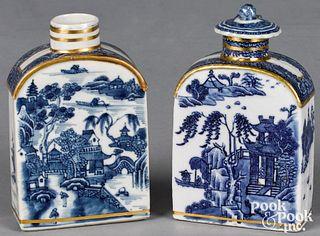 Two Chinese export Nanking porcelain tea caddies