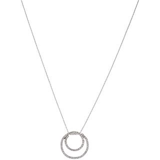 NECKLACE AND PENDANT WITH DIAMONDS IN 14K WHITE GOLD Brilliant cut diamonds ~1.18 ct. Weight: 4.6 g
