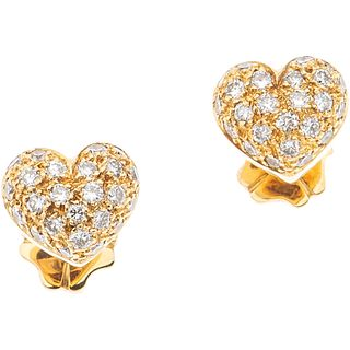 PAIR OF STUDS WITH DIAMONDS IN 18K YELLOW GOLD Brilliant cut diamonds ~0.50 ct. Weight: 4.2 g