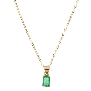 CHOKER AND PENDANT WITH EMERALD IN 14K YELLOW GOLD Octagonal cut emerald ~1.80 ct