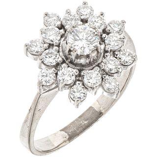 RING WITH DIAMONDS IN PALLADIUM SILVER 1 Brilliant cut diamonds~0.25 ct Clarity: SI1-SI2 and brilliant cut diamonds. Size:8¾