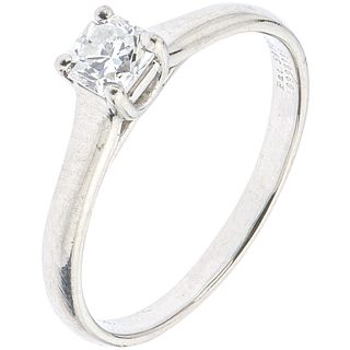 SOLITAIRE RING WITH DIAMOND IN .950 PLATINUM, TIFFANY & CO. Lucida Tiffany cut diamond  ~0.35 ct. Size: 6 ¼