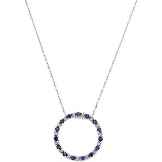 CHOKER AND PENDANT WITH SAPPHIRES AND DIAMONDS IN 14K WHITE GOLD Round cut sapphires ~0.45 ct and brilliant cut diamonds