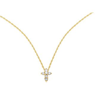 CHOKER AND CROSS WITH DIAMONDS AND RUBY IN 18K AND 14K YELLOW GOLD Brilliant cut diamonds ~0.15 ct and 1 round cut ruby