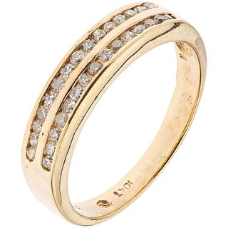 RING WITH DIAMONDS IN 10K YELLOW GOLD 8x8 cut diamonds ~0.30 ct. Weight: 2.6 g. Size: 6 ¾