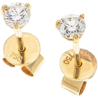 PAIR OF STUD EARRINGS WITH DIAMONDS IN 18K YELLOW GOLD Brilliant cut diamonds ~0.22 ct. Weight: 0.7 g