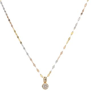 CHOKER AND PENDANT ITH DIAMOND IN YELLOW, WHITE, AND PINK 14K AND 10K GOLD 1 Brilliant cut diamond ~0.25 ct Clarity: I3