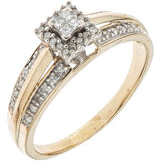 RING WITH DIAMONDS IN 10K YELLOW GOLD Princess and 8x8 cut diamonds ~0.35 ct. Weight: 3.7 g. Size: 9 ¾