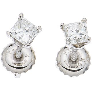 PAIR OF STUD EARRINGS WITH DIAMONDS IN 14K WHITE GOLD 2 Princess cut diamonds ~0.54 ct. Clarity: SI1-SI2 Color: I-J