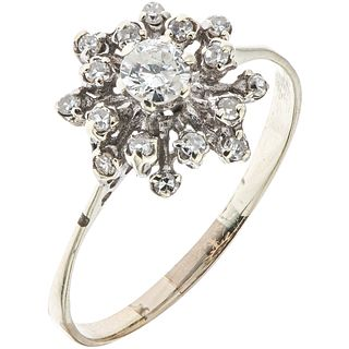 RING WITH DIAMONDS IN 10K YELLOW GOLD AND SIZE ADJUSTMENT IN BASE METAL 8x8 and brilliant cut diamonds ~0.50 ct. Size: 9 ½