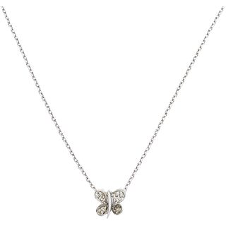 NECKLACE AND PENDANT WITH DIAMONDS IN 14K WHITE GOLD Brilliant cut diamonds ~0.05 ct. Weight: 2.2 g
