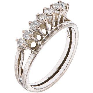 RING WITH DIAMONDS IN PALLADIUM SILVER Brilliant cut diamonds ~0.35 ct. Weight: 2.8 g. Size: 5 ¾