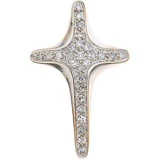 CROSS WITH DIAMONDS IN 14K WHITE GOLD 8x8 cut diamonds ~0.25 ct. Weight: 2.0 g