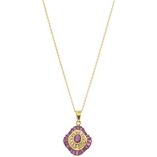NECKLACE AND PENDANT WITH RUBIES AND DIAMONDS IN 14K YELLOW GOLD Oval and trapezoid cut rubies~0.90ct and Brilliant cut diamonds