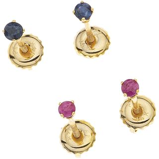 TWO PAIRS OF STUD EARRINGS WITH SAPPHIRES AND RUBIES IN 14K YELLOW GOLD Round cut sapphires ~0.12 ct and round cut rubies ~0.12 ct
