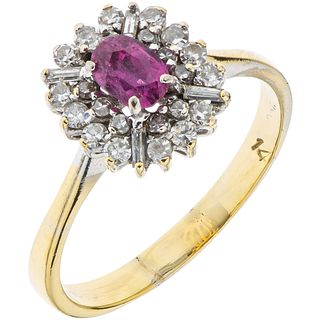 RING WITH RUBY AND DIAMONDS IN BASE METAL 1 Oval cut ruby ~0.25 ct and 8x8 and baguette cut diamonds ~0.60 ct. Size: 8