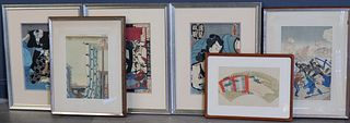 Assorted Grouping of Japanese Prints and a Fan