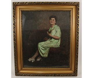 CIRCA 1940's PORTRAIT OF YOUNG LADY OIL PAINTING