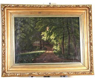 19th CENTURY LANDSCAPE OIL ON CANVAS PAINTING