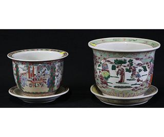 LOT OF TWO ANTIQUE CHINESE FAMILLE ROSE CACHEPOTS