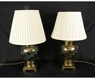 PAIR OF ART DECO STYLE BRASS & PORCELAIN LAMPS