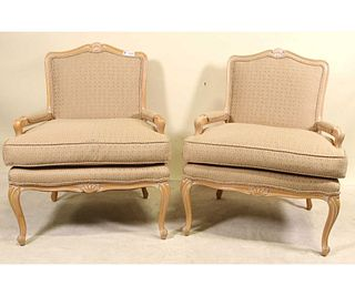 PAIR OF HICKORY MFG CO. FRENCH STYLE ARMCHAIRS