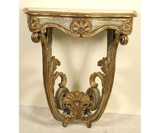 19th CENTURY FRENCH WALL MOUNT CONSOLE TABLE