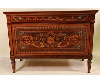 ITALIAN NEOCLASSICAL STYLE WALNUT & ROSEWOOD CHEST