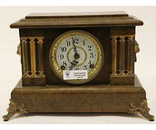 19th CENTURY SETH THOMAS FAUX GRAIN MANTEL CLOCK