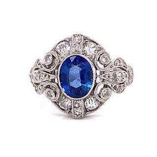 20's Platinum Sapphire Diamond Ring