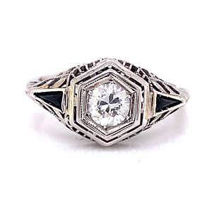 Art Deco 18k Diamond Engagement Ring