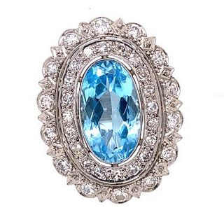 Platinum Diamond Topaz Ring