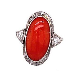 Art Deco Platinum Coral Diamond Ring