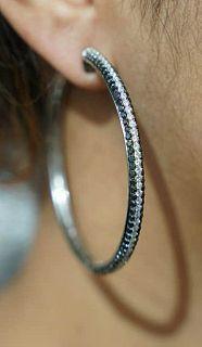 18k White & Black Diamond Hoop Earrings