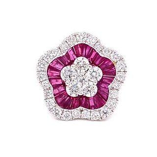18k Diamond Ruby Flower Ring
