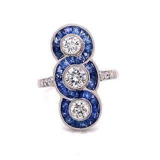 Platinum 3 Diamond Sapphire Ring